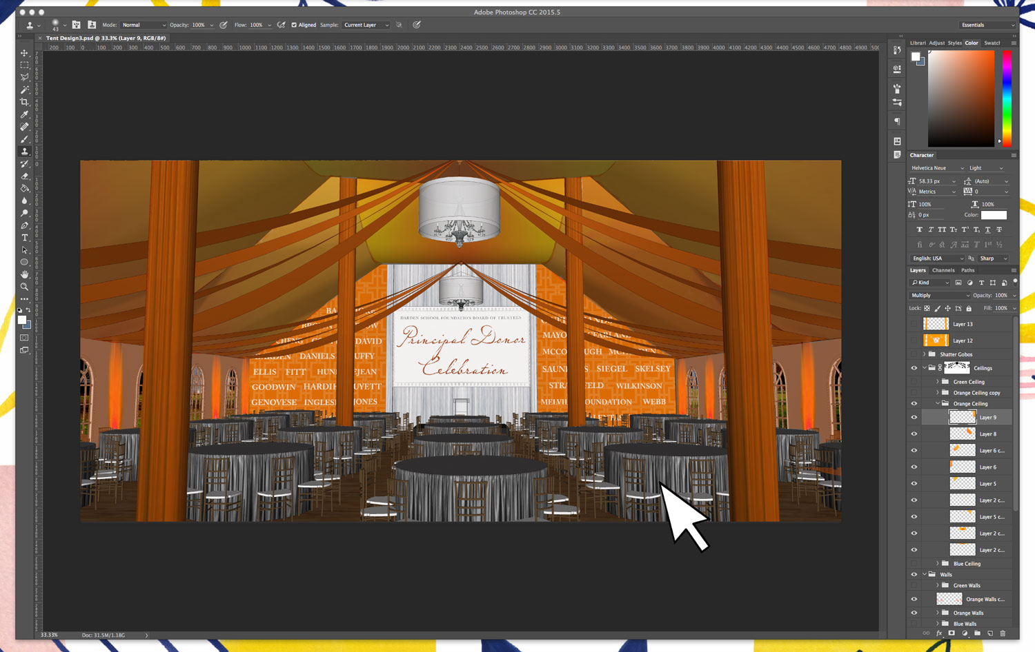 Event Design Rendering in Photoshop