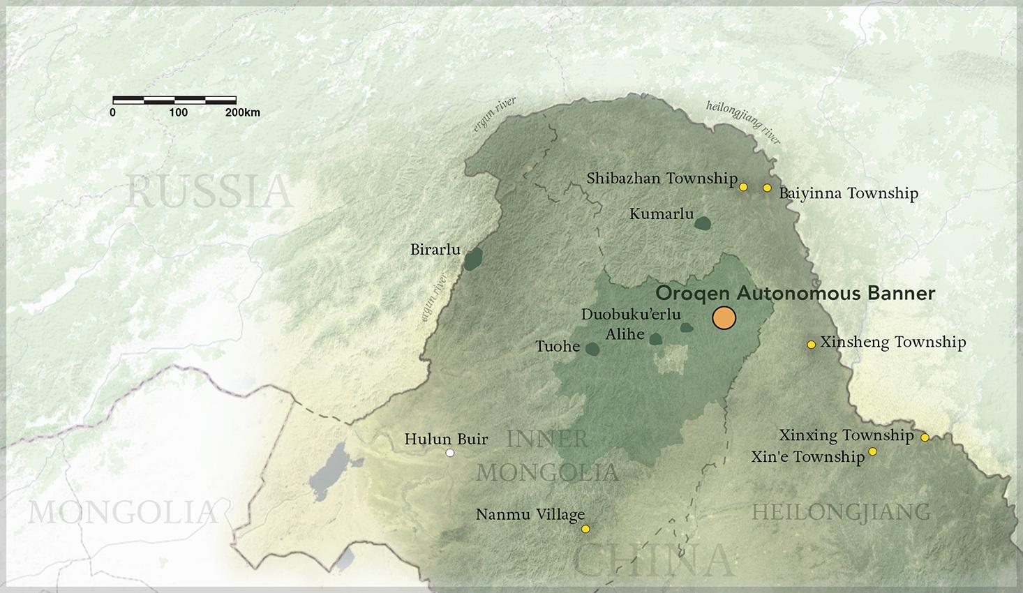 Dispersal of Oroqen settlements throughout Heilongjiang Province and Inner Mongolia - map © Ross Fleming