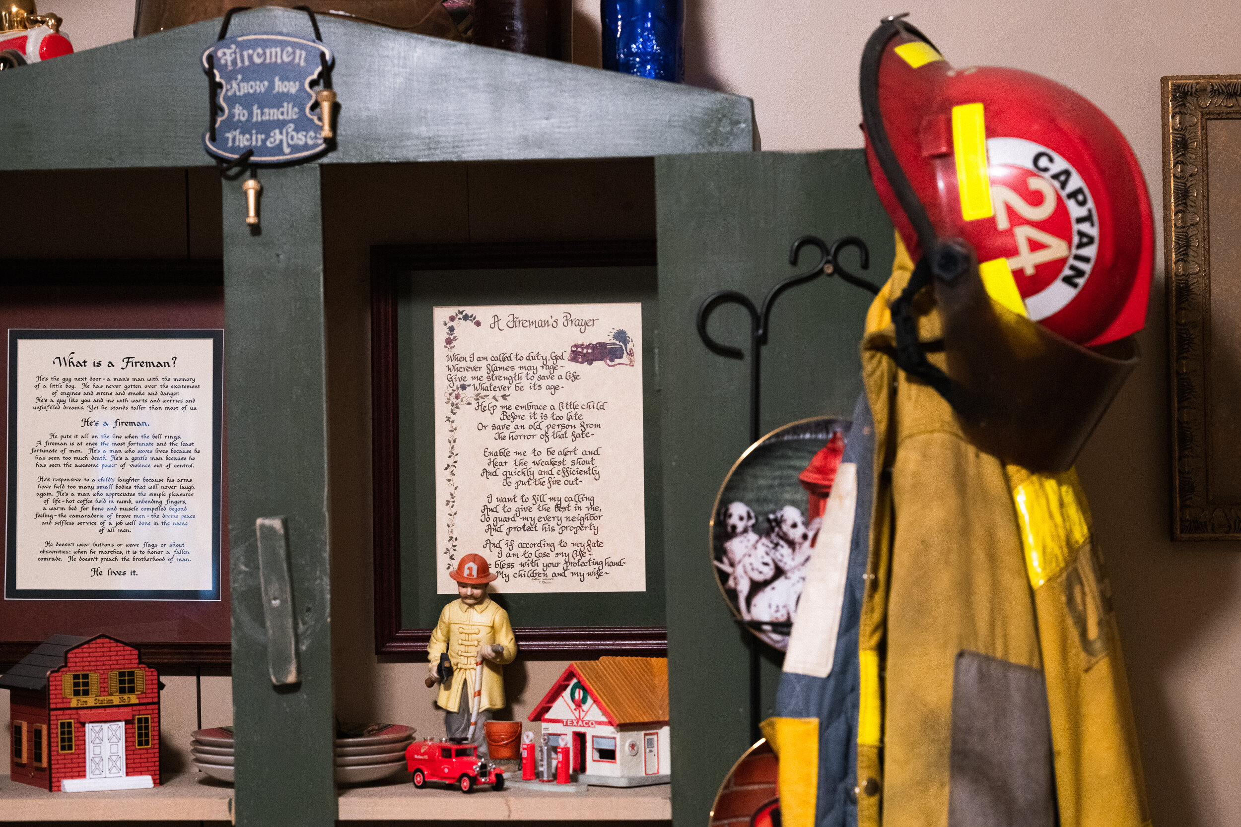Clark collects firefighting memorabilia which he keeps displayed in the family home.