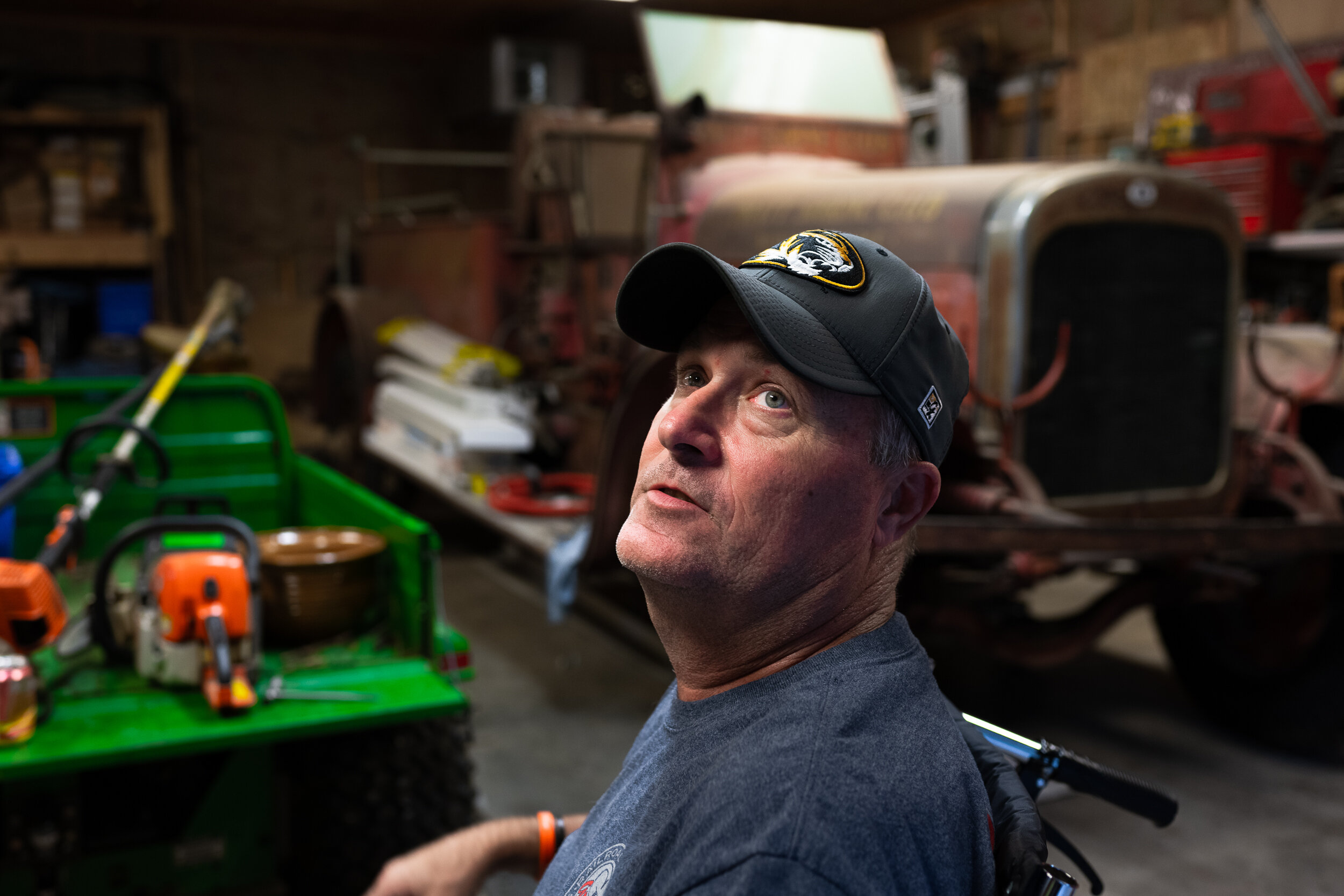 """My wife said I needed a hobby,"" Clark said of the vintage fire engine which currently sits in his garage. He plans to rebuild the vehicle upon his recovery."