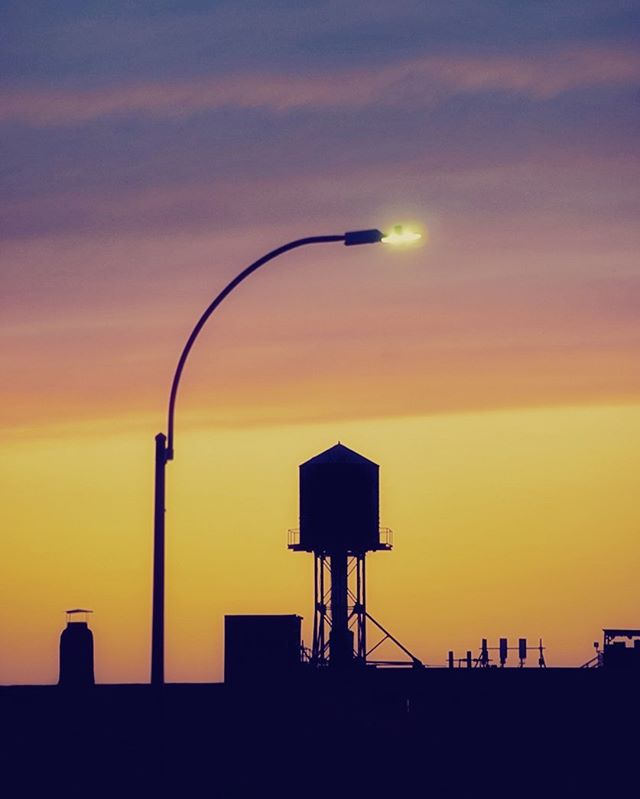 My hood #brooklyn #بروكلين #sunset #streetlamps #purple #yellow