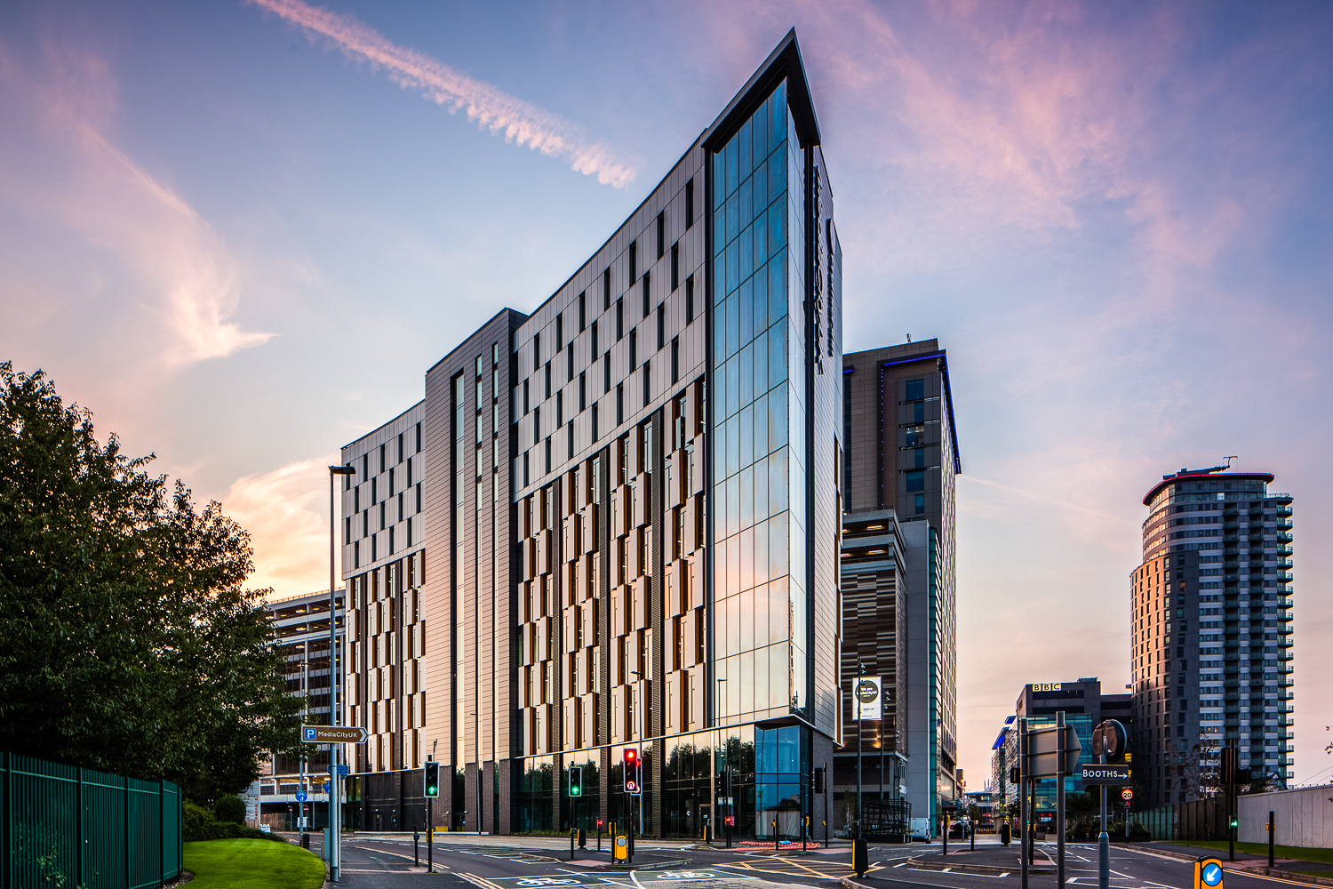 Tomorrow Building at sunrise MediaCityUK