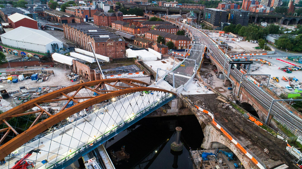 UAS photograph of Ordsall Chord under construction