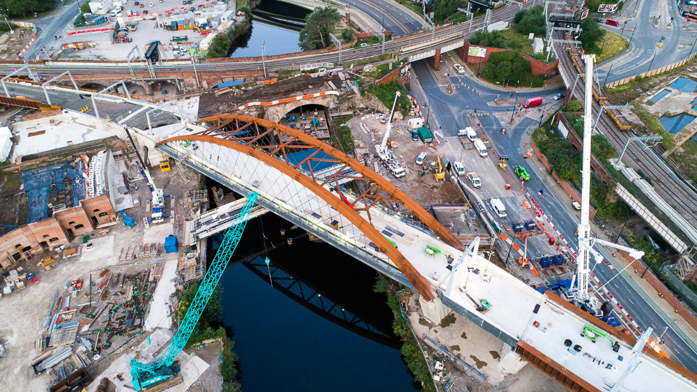Drone photograph of Ordsall Chord under construction