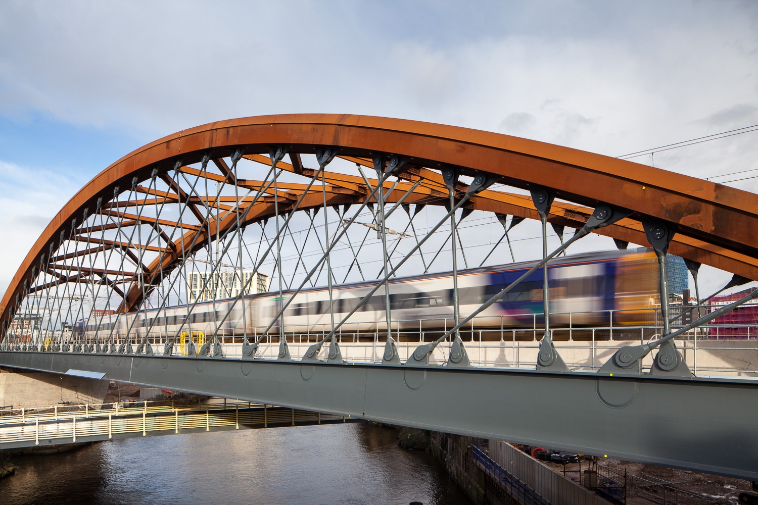 Ordsall Chord Train over bridge