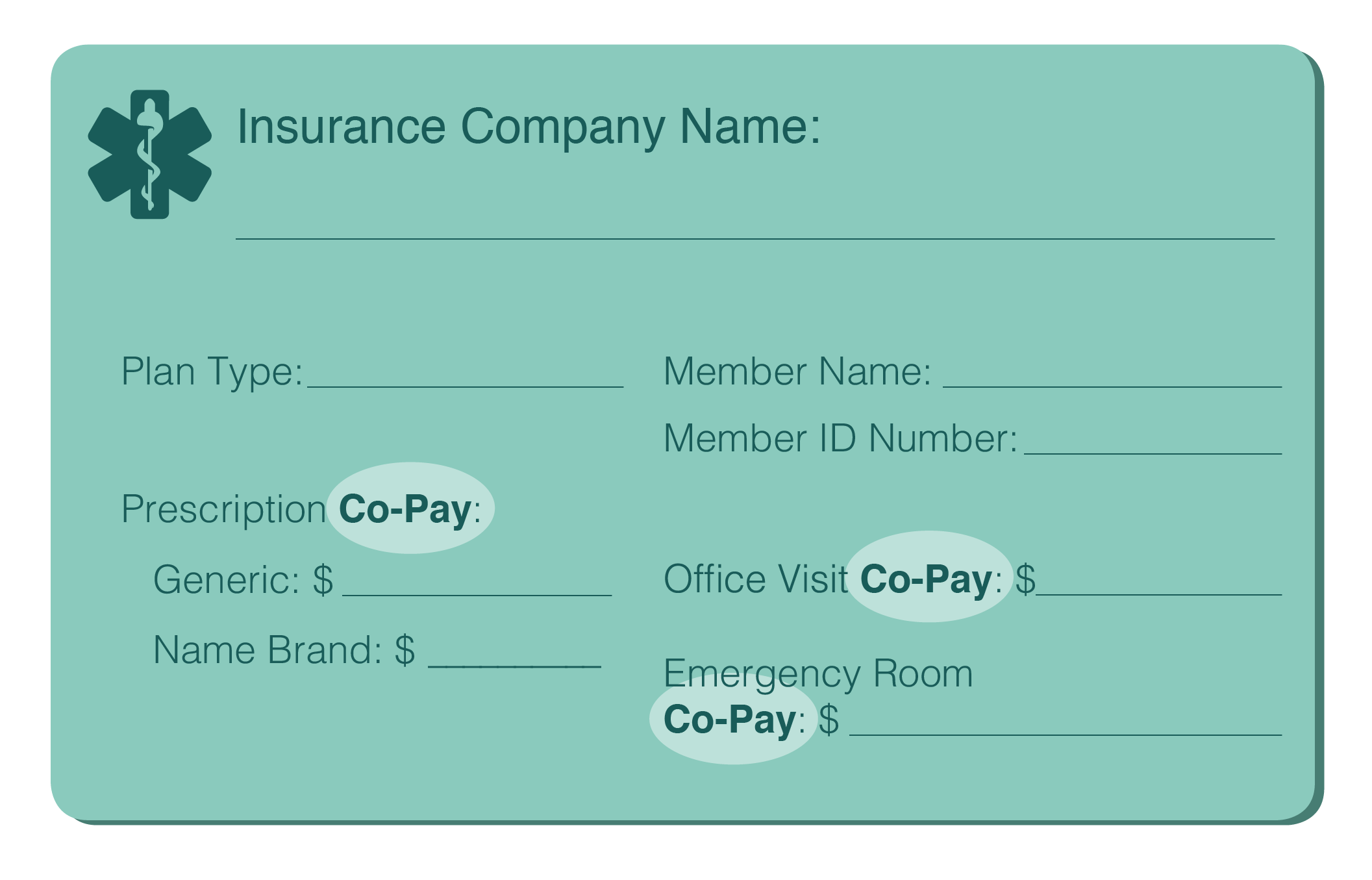 """graphic of an insurance card front with the word """"co-pay"""" highlighted"""