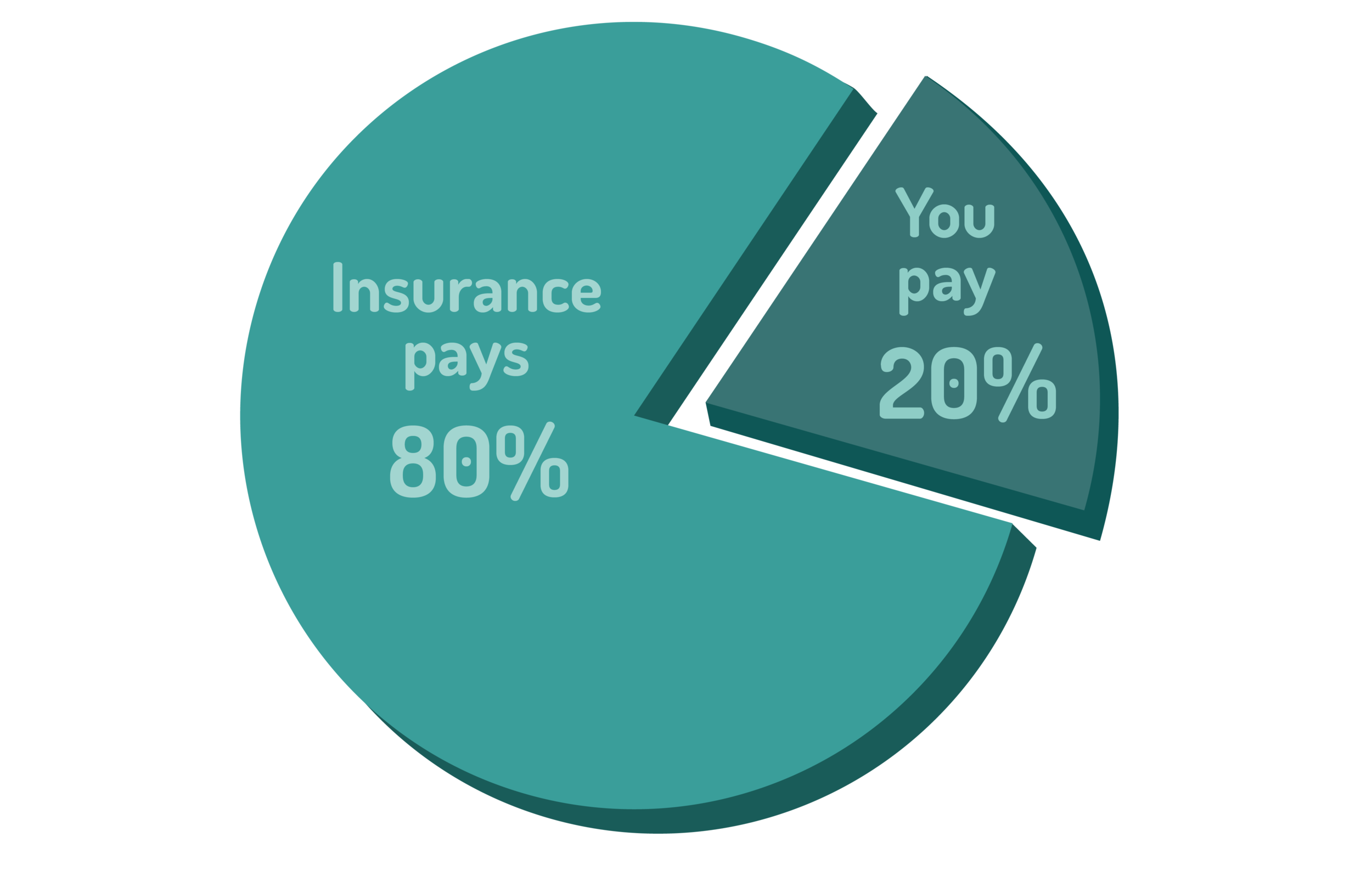 """graphic of a pie chart showing an example of how """"co-insurance"""" works"""