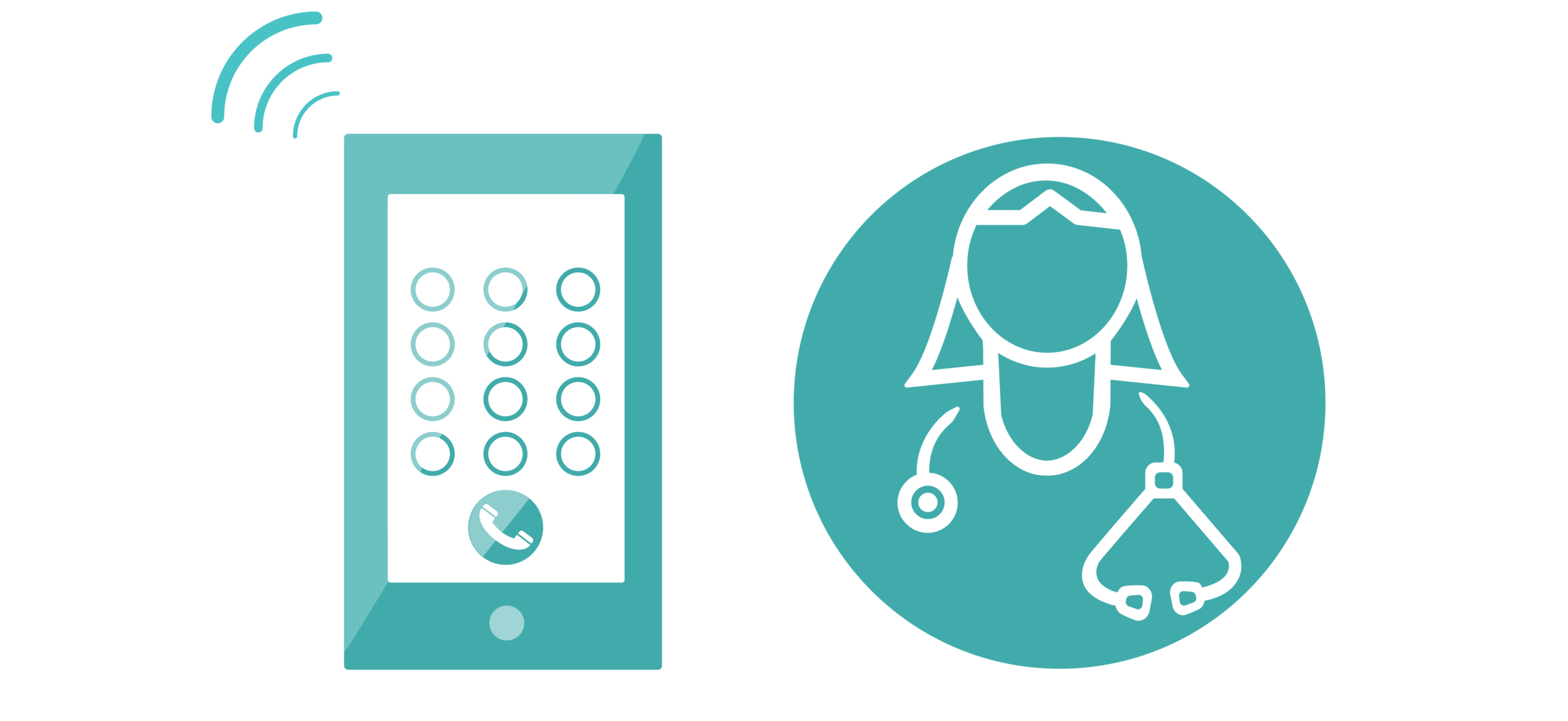 graphic of a cell phone next to graphic of a doctor