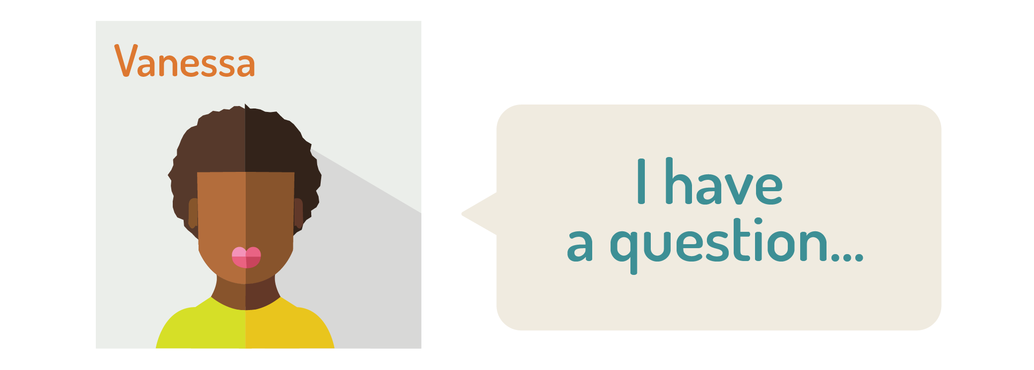"graphic of a woman saying: ""I have a question"""