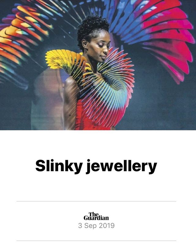 To have my work featured in The Guardian today is the cherry on the top of an amazing weekend of exposure and recognition at IJL, Olympia. This photograph of a neck piece I made for GAPS' music video to their 2016 single A World Away was taken yesterday during my catwalk presentation at the show. Huge thanks again to @jewellerylondon & @gcdcawards for such a fantastic opportunity and for all your wonderful generosity. I feel extremely spoilt and blessed, not to mention energised to continue my work, exploring the power of wearable objects. It's all about the connection... @goldsmithsfair @goldsmithsnorth @thegoldsmithscompany @sieraadartfair @craftscouncil @gapsmusic @jennaleechoreographer @chrisbulezuikphotography #jewellery #dance #contemporary #art #ethereal #otherworldy #spiritual #movement #liquidmetal #silver #diamonds #goldsmithscompanyaward #craft #design #engineering #performanceart #videoart #catwalk #fashion #runway #sculpture #wearableart #followyourheart