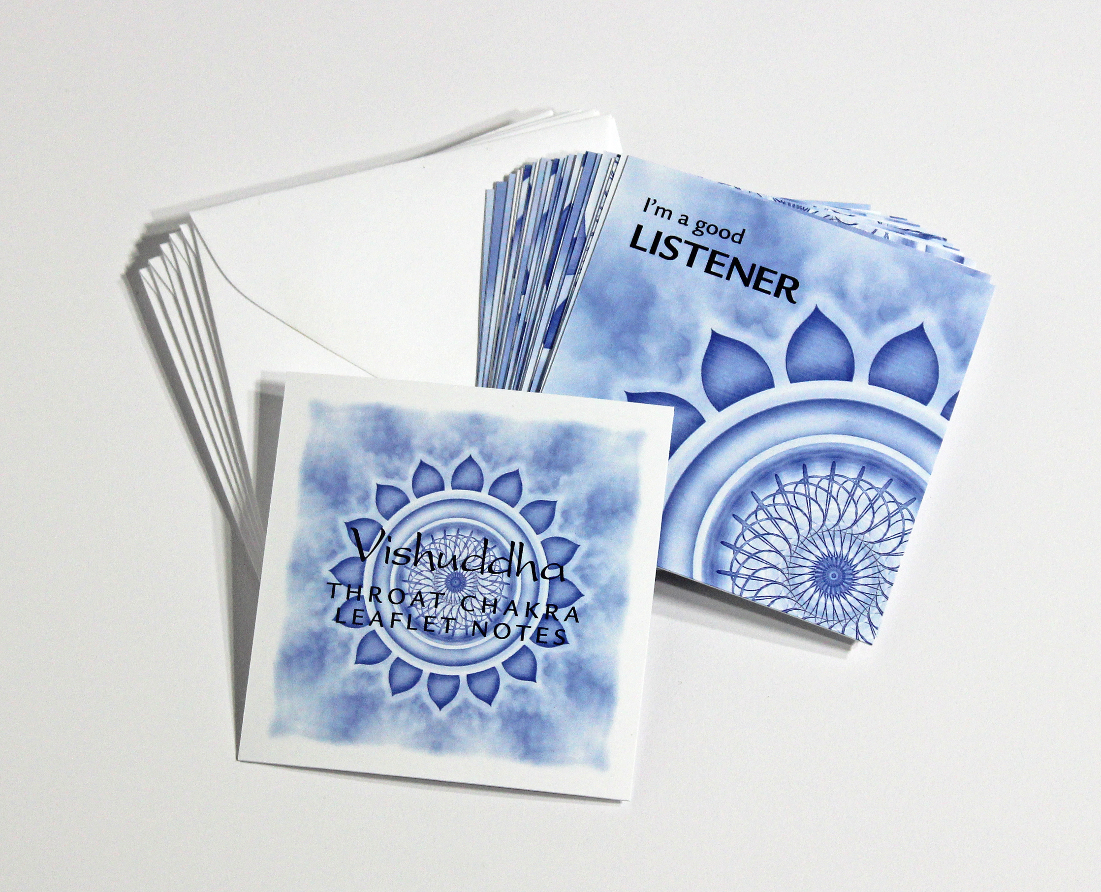 THROAT   CHAKRA LEAFLET NOTES - $18  Leave behind your inner critic, self-doubt, and negative thinking with our tiny Throat Chakra LeafLet Notes.