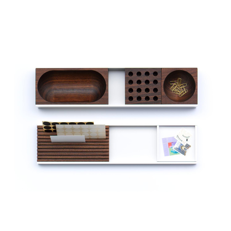 TECTA Meterware  (wie abgebildet)  oben: Ablagefläche, Schale oval, Lochblock, Schale rund CHF 350.00  unten: Ablagefläche, Kartenhalter, Ablageschale CHF 250.00