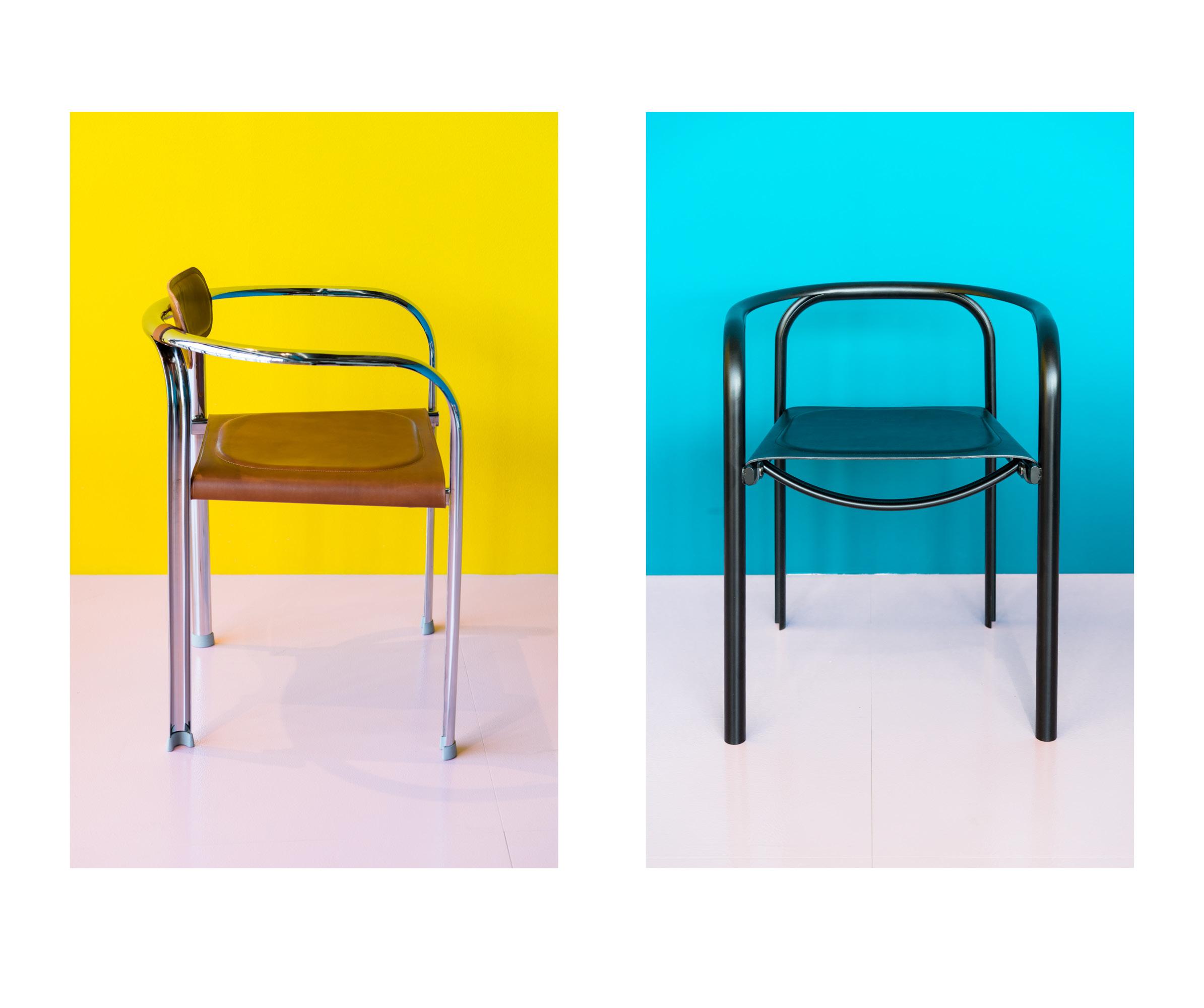 Stuhl SPLIT mit Rückenstütze*  CHF 1'045.00 Erhältlich in Chrom glänzend oder schwarz pulverbeschichtet. Masse: B 56, T 45, H 68, Sitzhöhe 46, Armlehnhöhe 67 cm *nur auf Bestellung