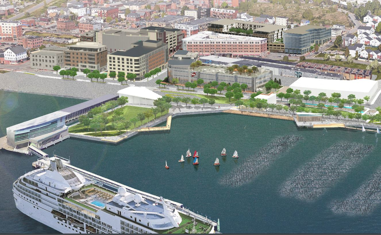 An aerial image of the developing eastern waterfront prepared by Archetype Architects of Portland for a recent planning board submission to develop the Shipyard Brewery site on Newbury Street.