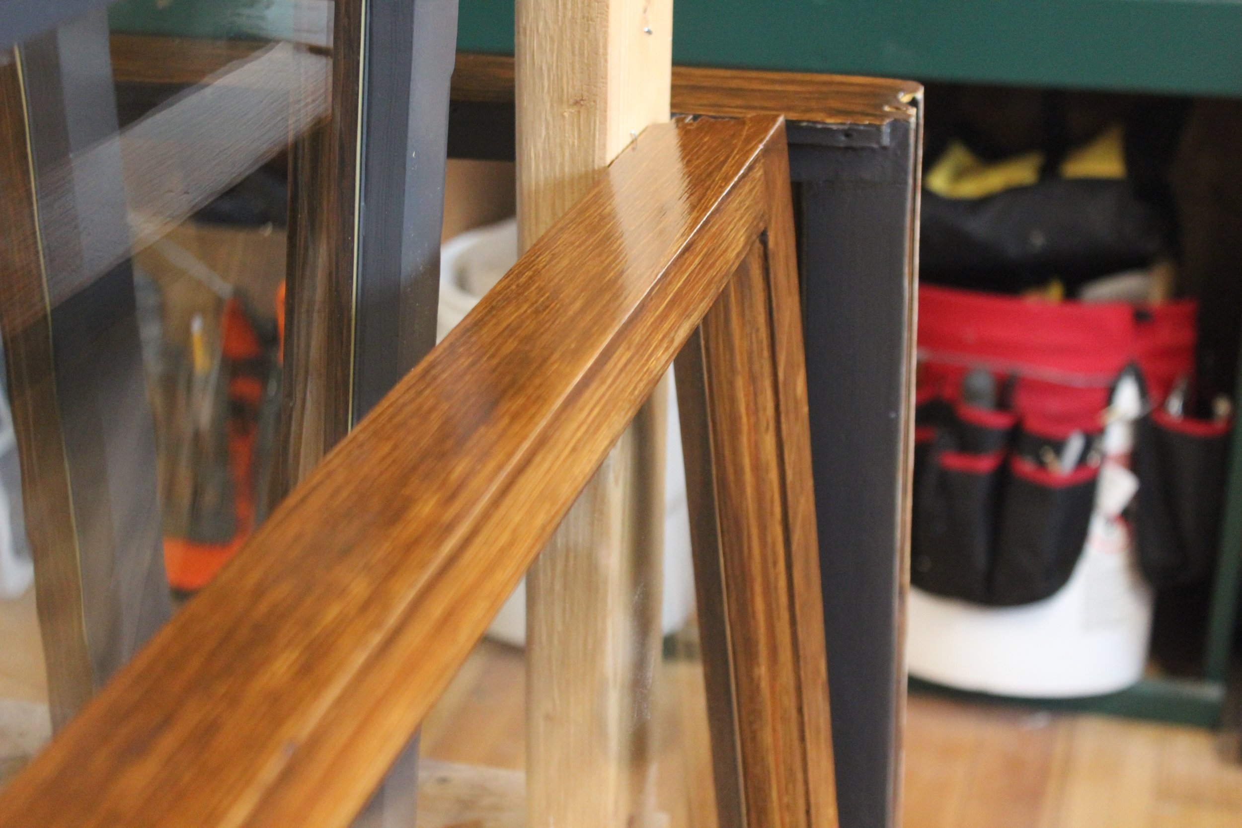 A close up of Stephanie's 'faux bois.' In this case, pine sash is painted to look like oak to match the existing trim.