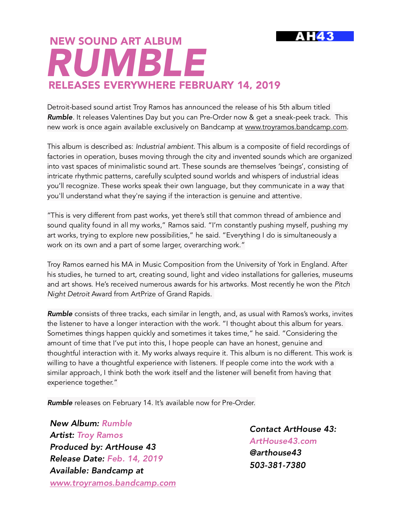 Rumble Album Press Release Troy Ramos ArtHouse 43 2019.jpg