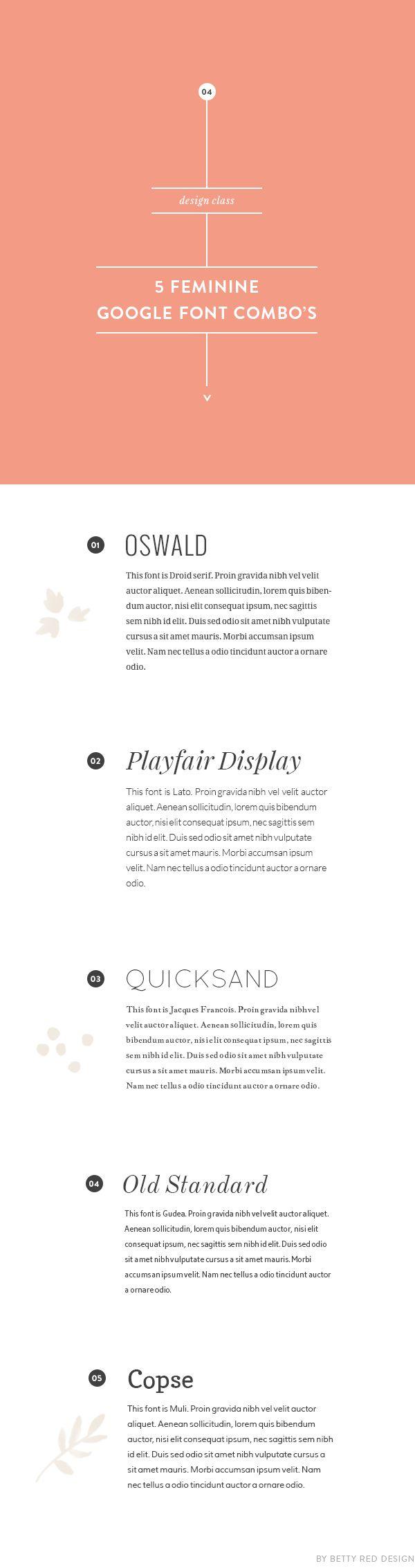 5 feminine google font combinations by neshadesigns.com