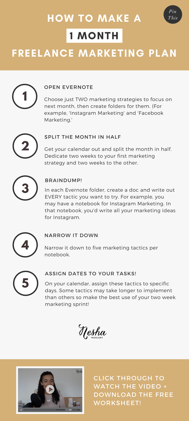 How to make a 1 month freelance marketing plan by Nesha Woolery, neshawoolery.com. Struggling to find clients? Does marketing feel scary and daunting? Click through to watch the video and download the worksheet so you can get started on creating your marketing plan!