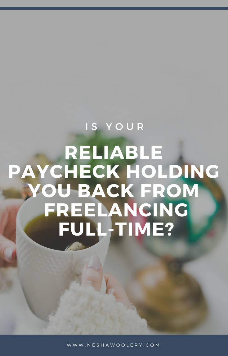 So you've figured out that you really want to do creative, fulfilling work but you know that you'll have to start at the bottom...and you think that means a crappy wage. Well if you click on this pin, you can find out the reason why you find your reliable paycheck can be holding you back from freelancing fulltime. #Business #Freelancing #Income #Freelancer #Designer