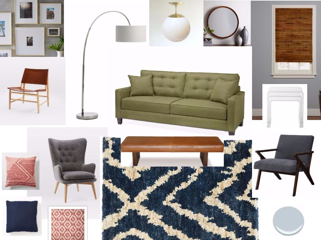 *This design board was created for a family with a mid century design aesthetic. The color palette of cool blues and grays is balanced with rich leather, wood and an earthy green sofa. Pops of playful coral brighten the space and create a stylish yet comfortable living room