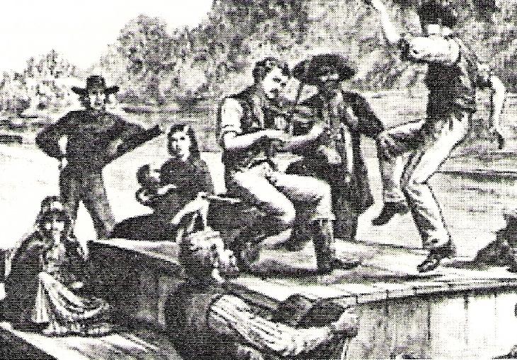 Flatboat Fiddler  Frank Leslie's Illustrated Newspaper  (April 1880)