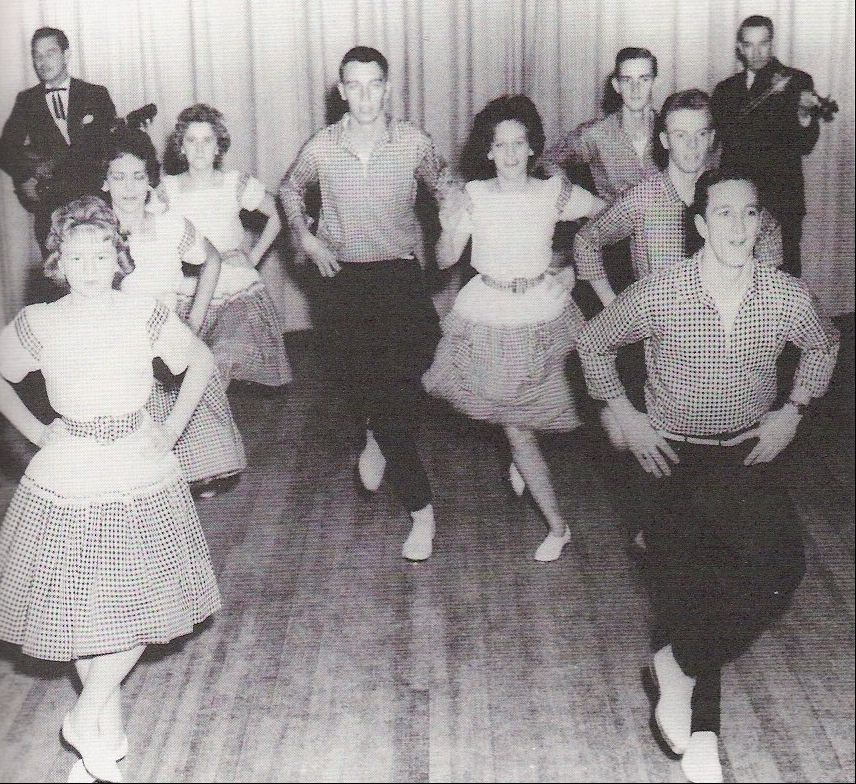 Precision Clogging (early 1960s) James Kesterson (front right) and the Blue Ridge Mountain Dancers, Henderson County, NC (from: Seeger,  Talking Feet )