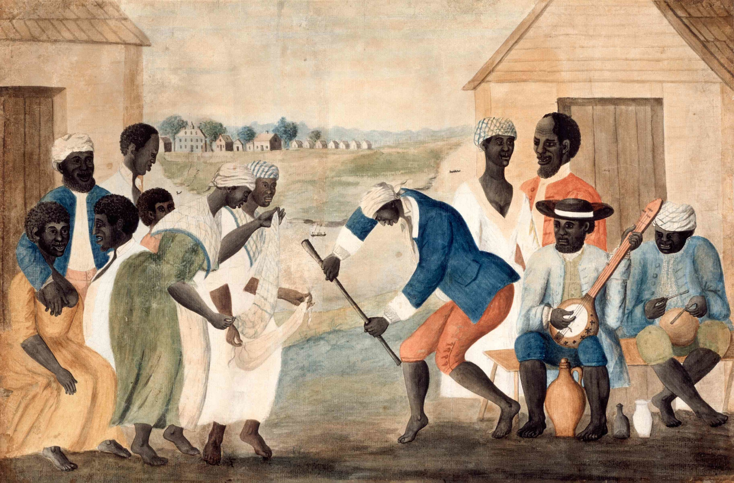 """The Old Plantation"" Black dancers accompanied by banjo and rhythm (attributed to John Rose, Beaufort County, SC, c. 1790) (The Colonial Williamsburg Foundation. Gift of Abby Aldrich Rockefeller)"