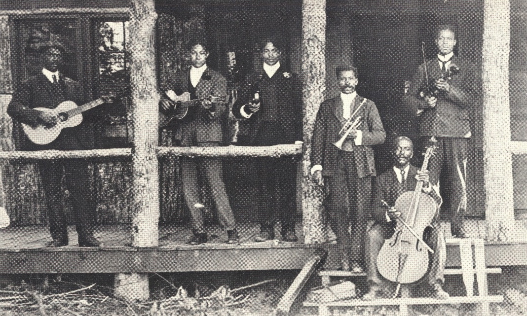 """Skyland Orchestra"" (c. 1900) Black dance musicians at a summer resort in the Blue Ridge Mountains of Virginia (from: George Freeman. Pollock,  Skyland: The Heart of the Shenandoah National Park )"