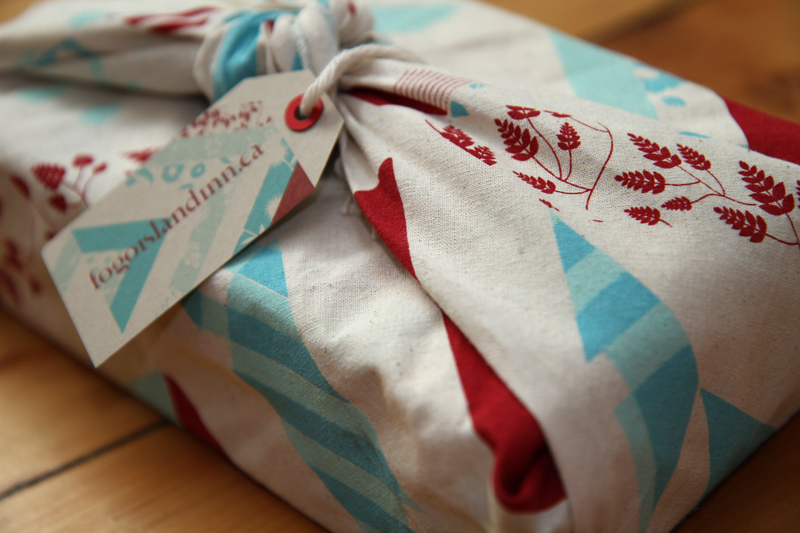 Textile wrap and label signed lovingly by Fogo Islandlocal