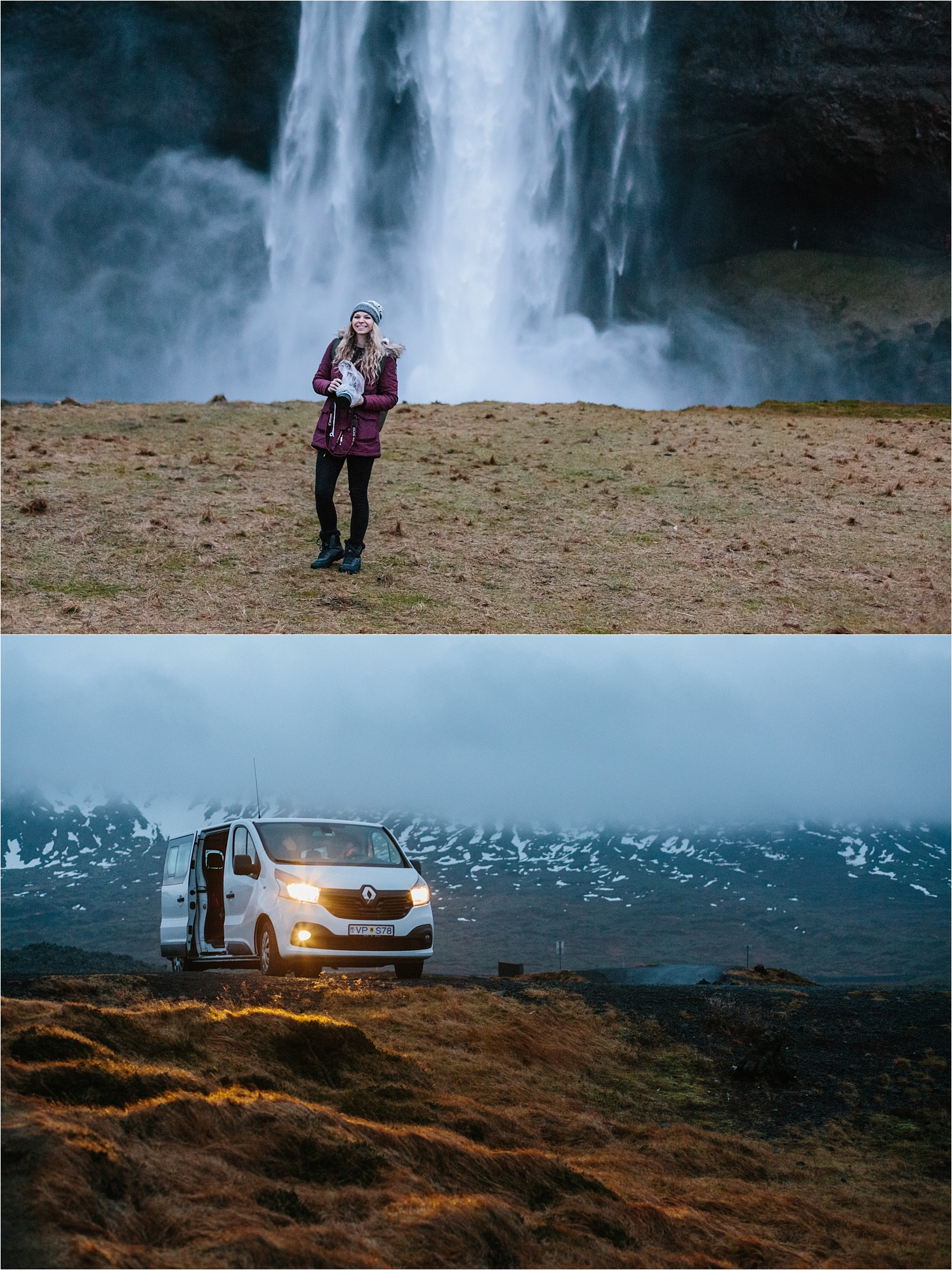Me in front of Seljalandsfoss and our van in the middle of nowhere. :)
