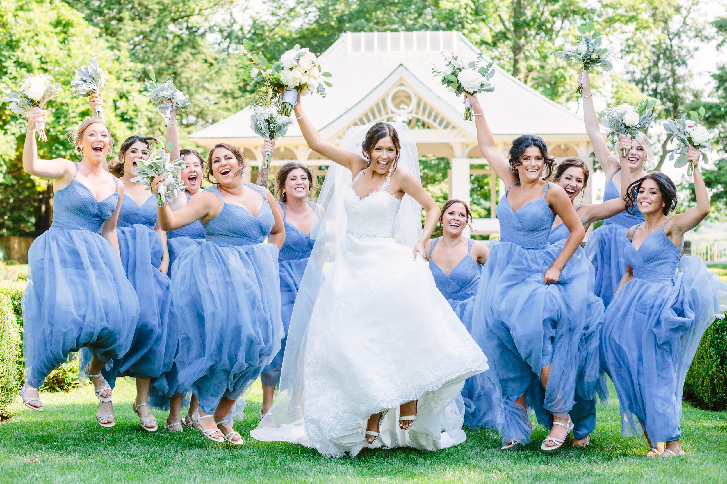Fun bridal party photos at fellows riverside gardens in mill creek park