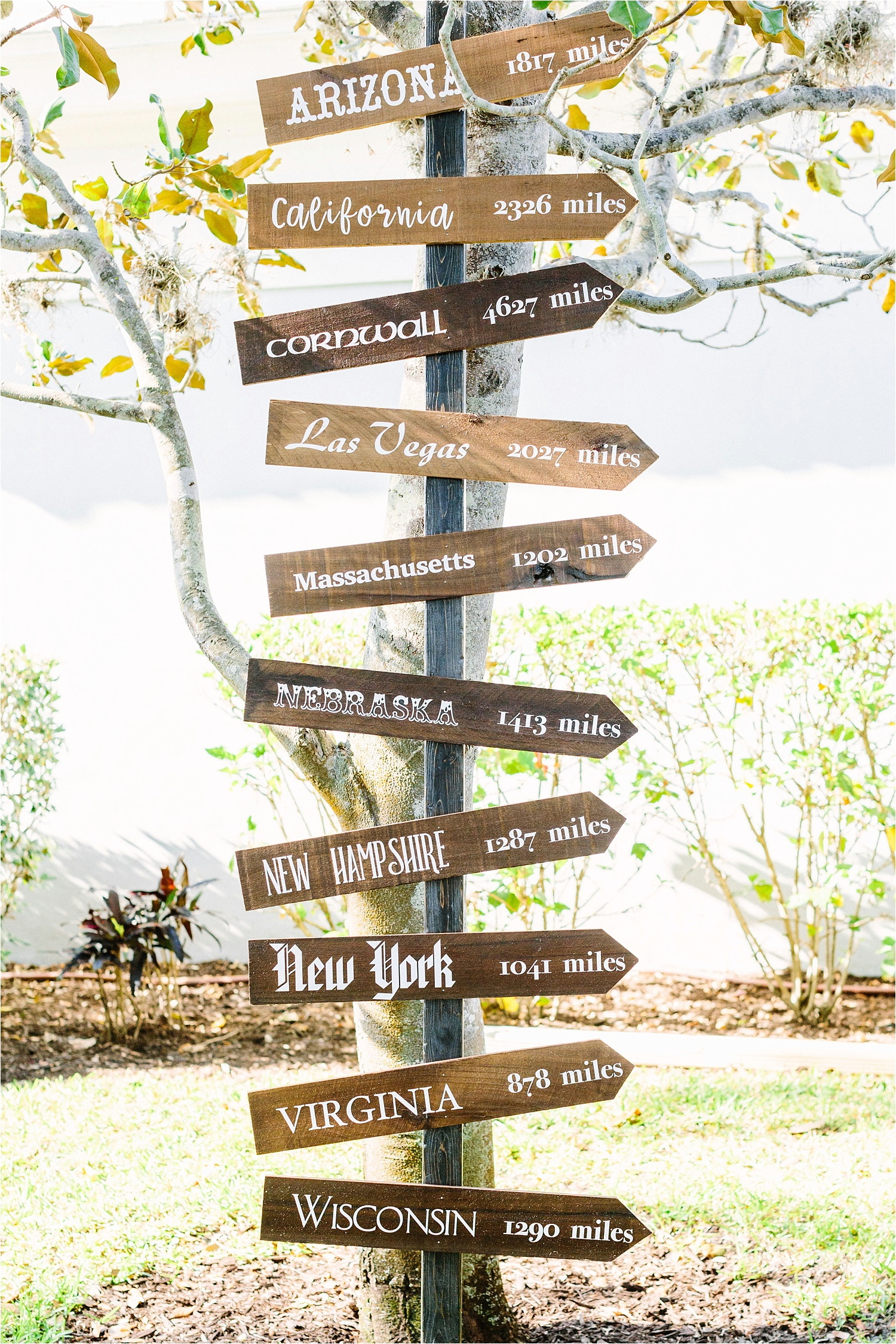Will crafted this amazing sign to honor their guests who traveled from all over the world to celebrate their special day with them!