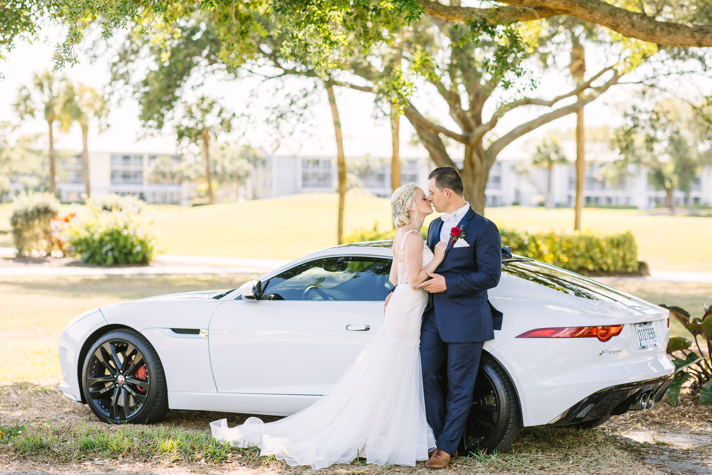 bmw styled bride and groom wedding photos