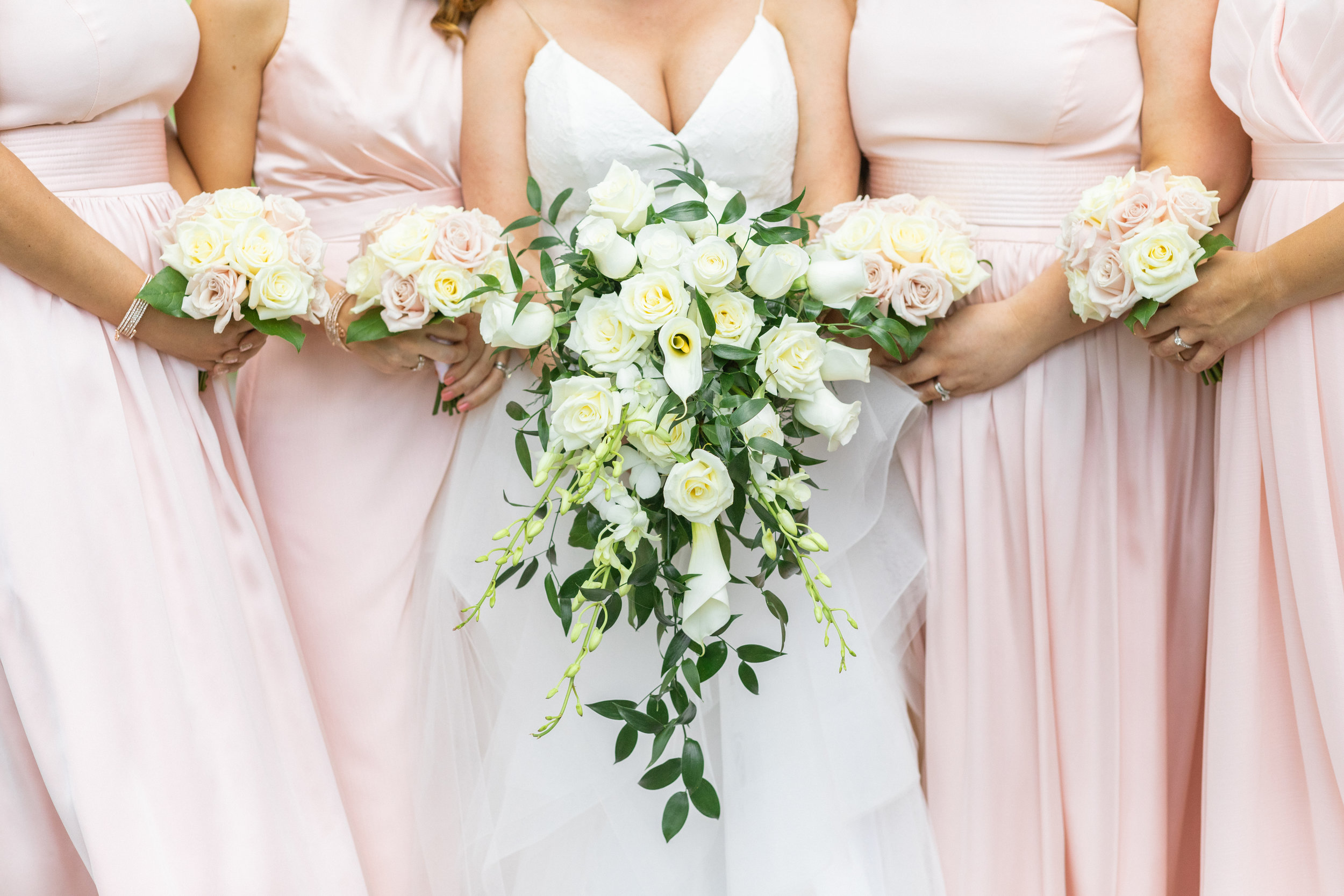 bright and airy fine art bridal party flower bouquet photo