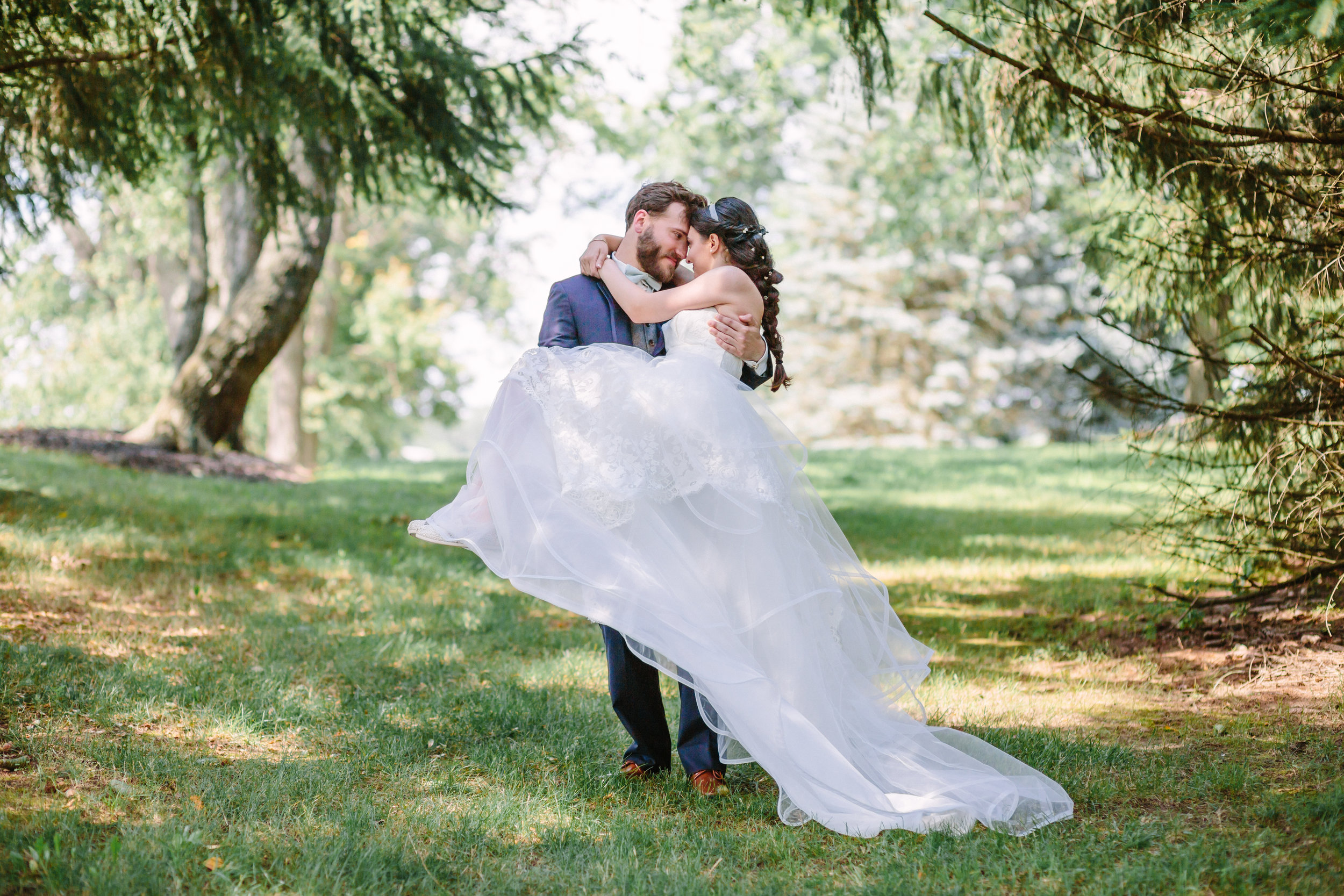 Fairytale Youngstown outdoor wedding photos of bride and groom