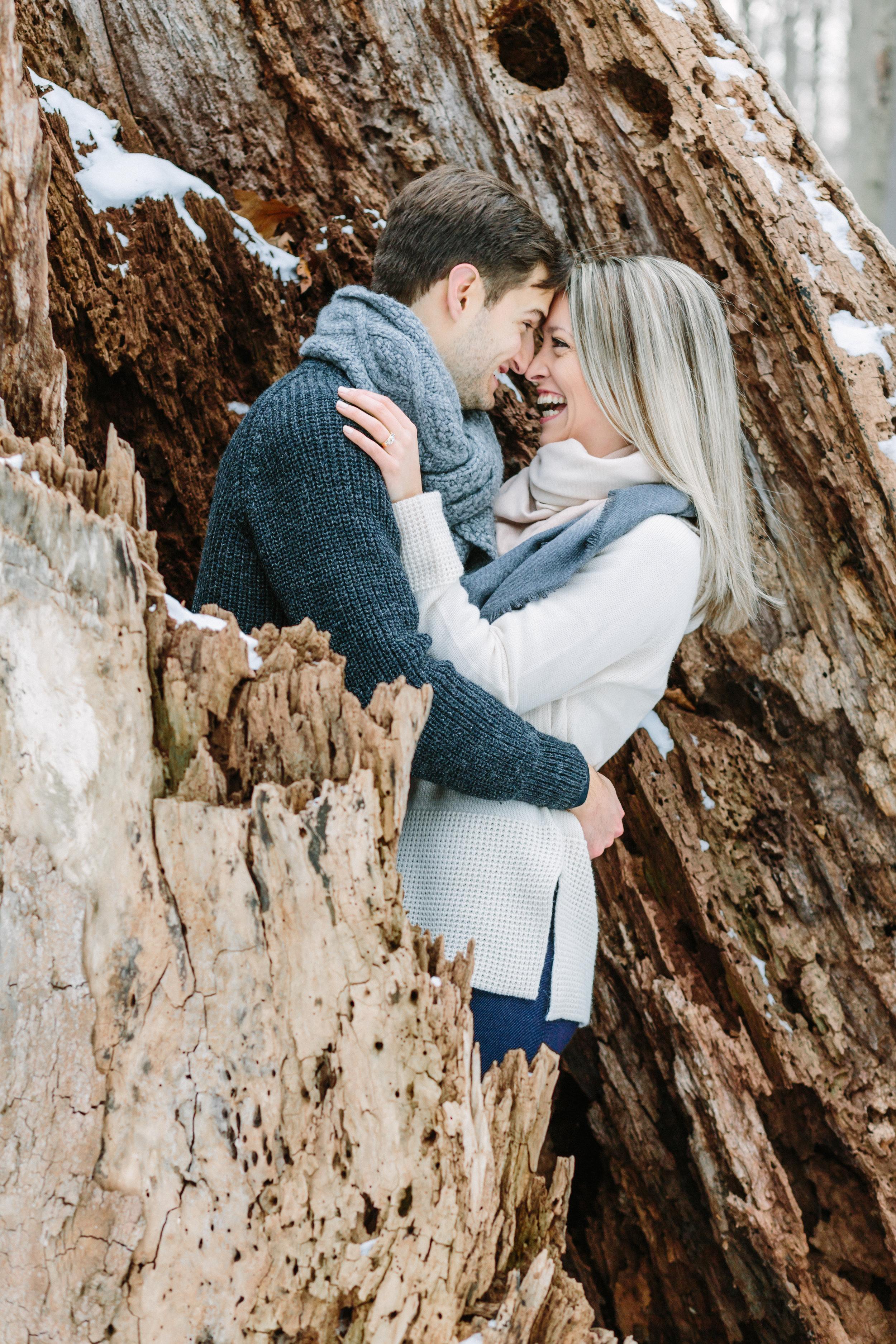winter engagement photos at poland municipal forest