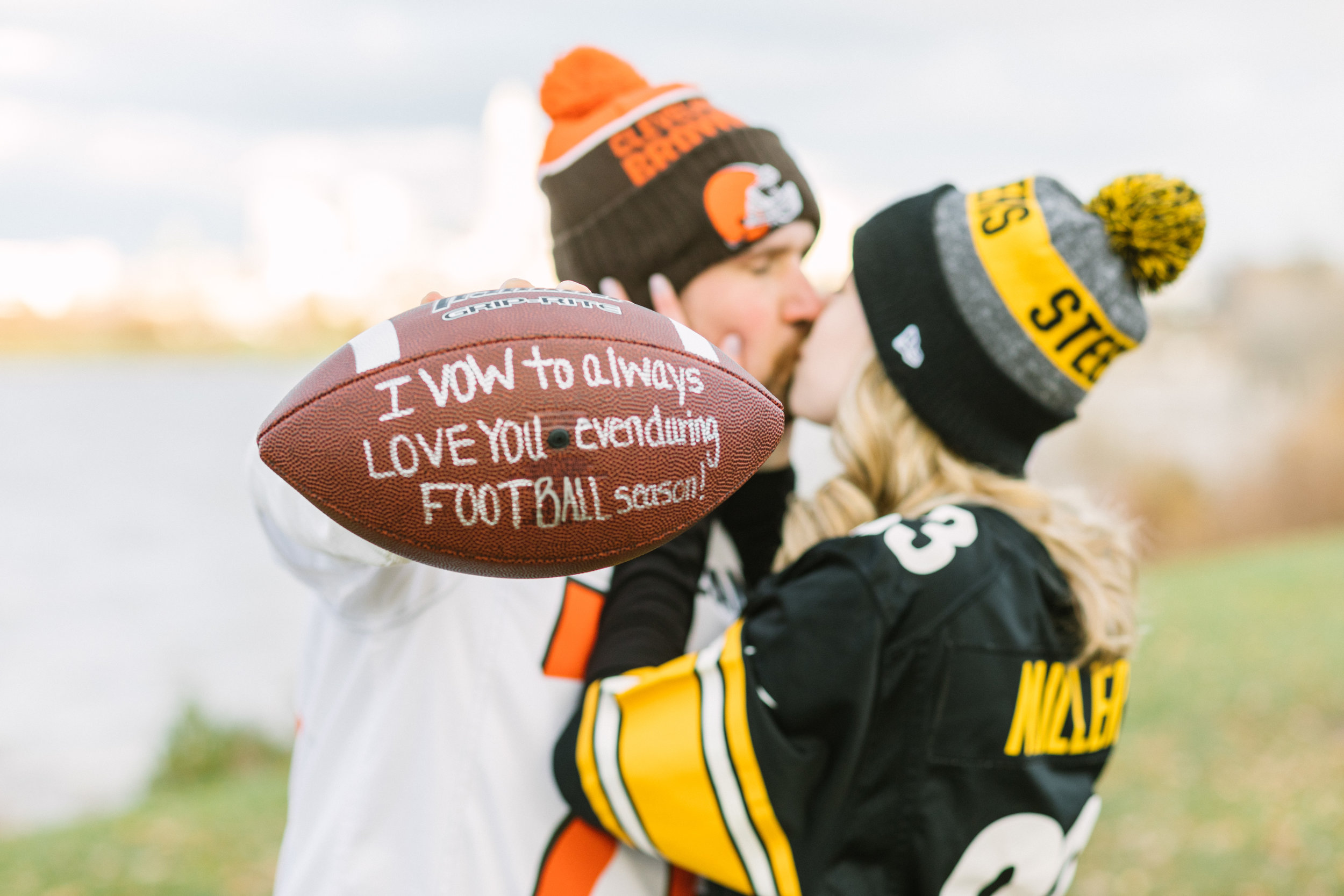 browns and steelers fans engagement photo