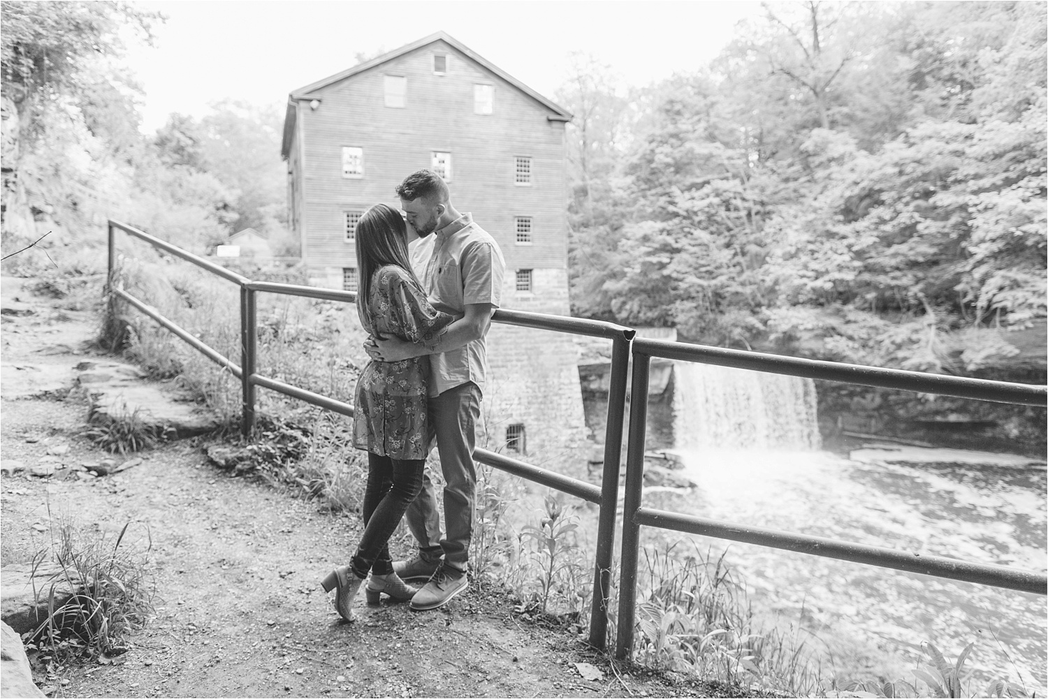 Lanterman's Mill engagement photos in black and white