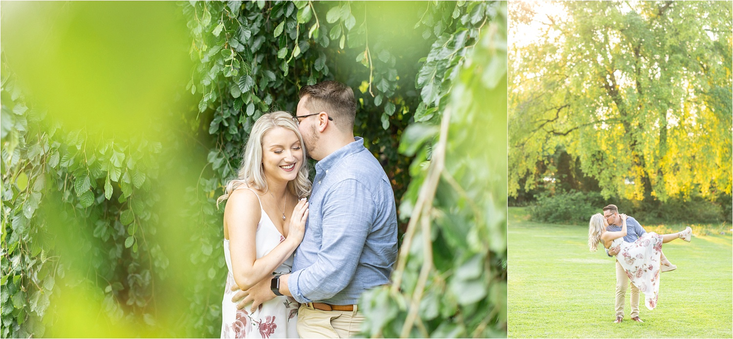 laughing engagement photos at mill creek park in youngstown ohio