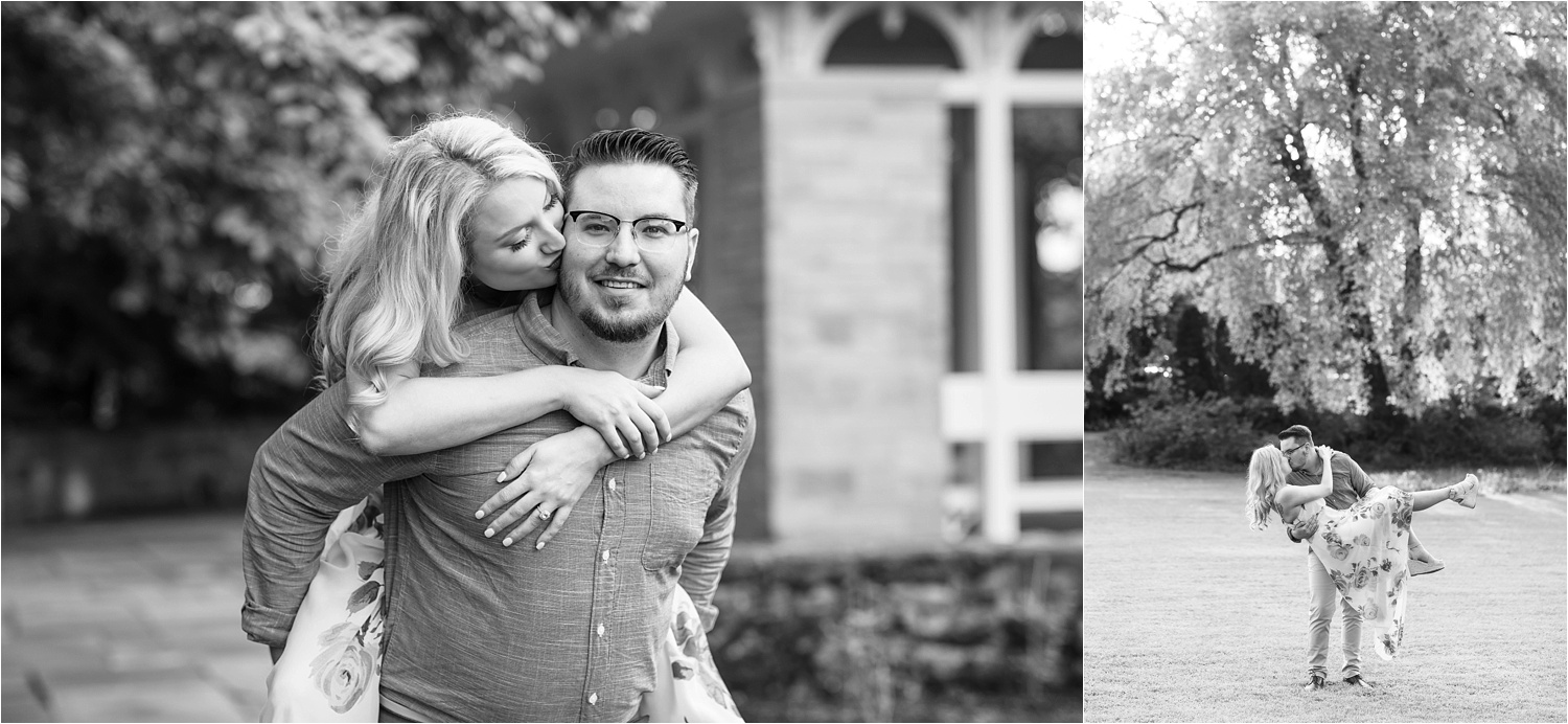 black and white engagement photos at fellows riverside gardens