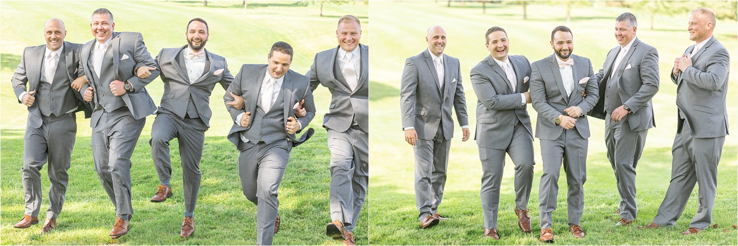 groom and groomsmen bridal party photos at Tippecanoe Country Club