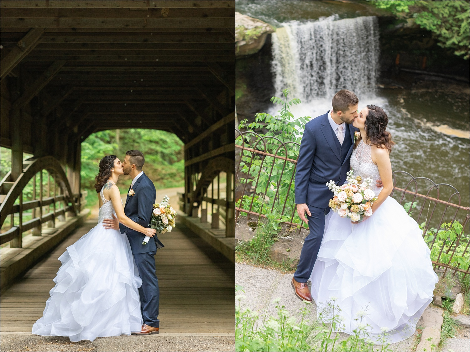 lanterman's mill waterfall and covered bridge kissing wedding photo