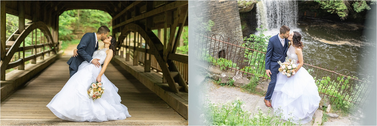 lanterman's mill covered bridge and waterfall kissing wedding photos