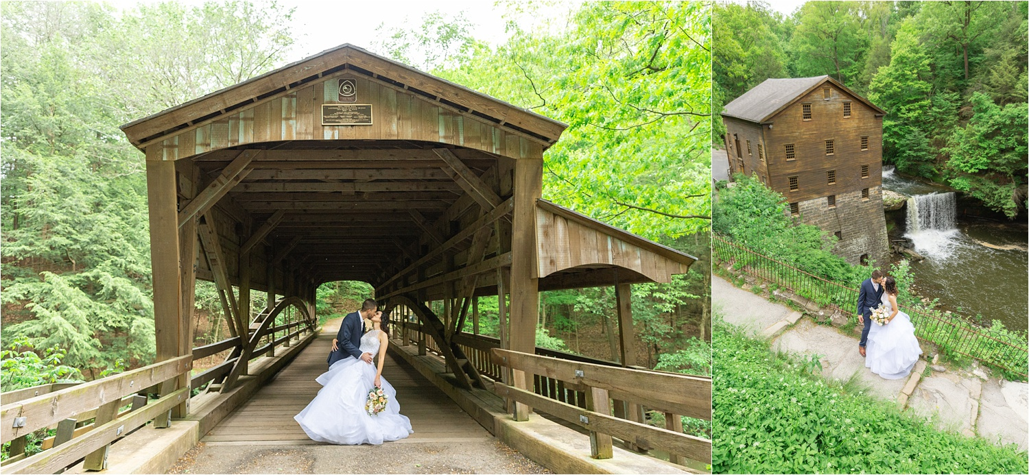 wedding photos in mill creek at lanterman's mill covered bridge