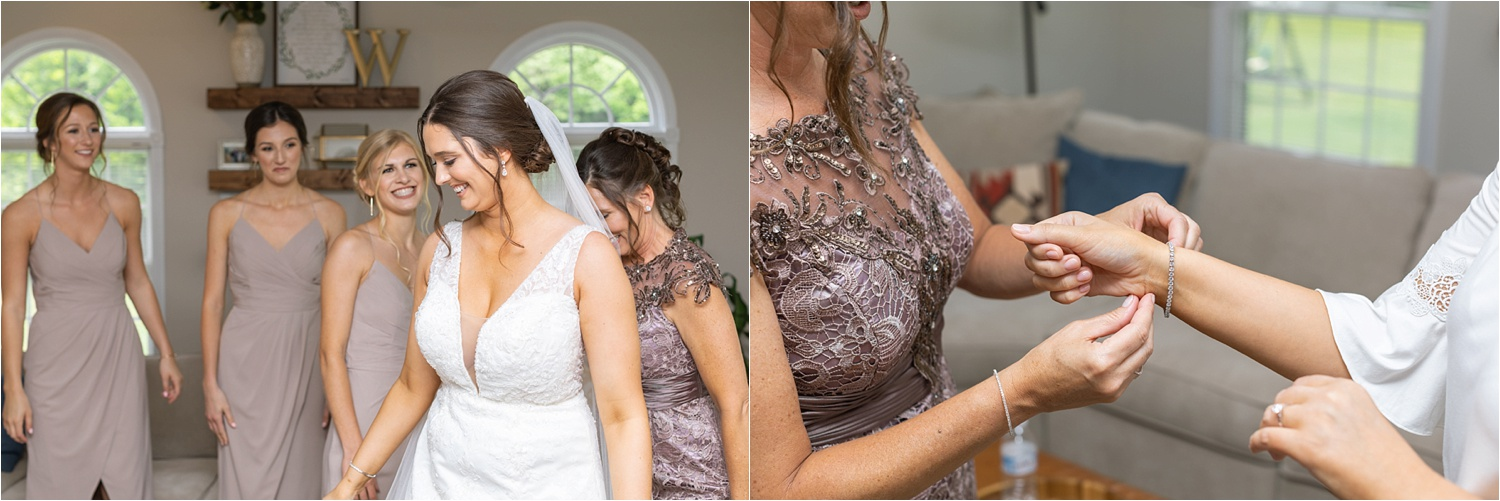 ohio bride getting ready with bridesmaids