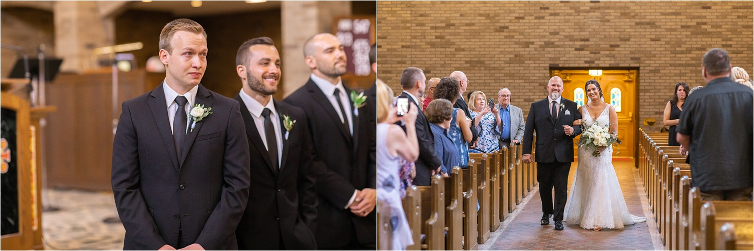 grooms reaction to his beautiful bride walking down the aisle on their wedding day