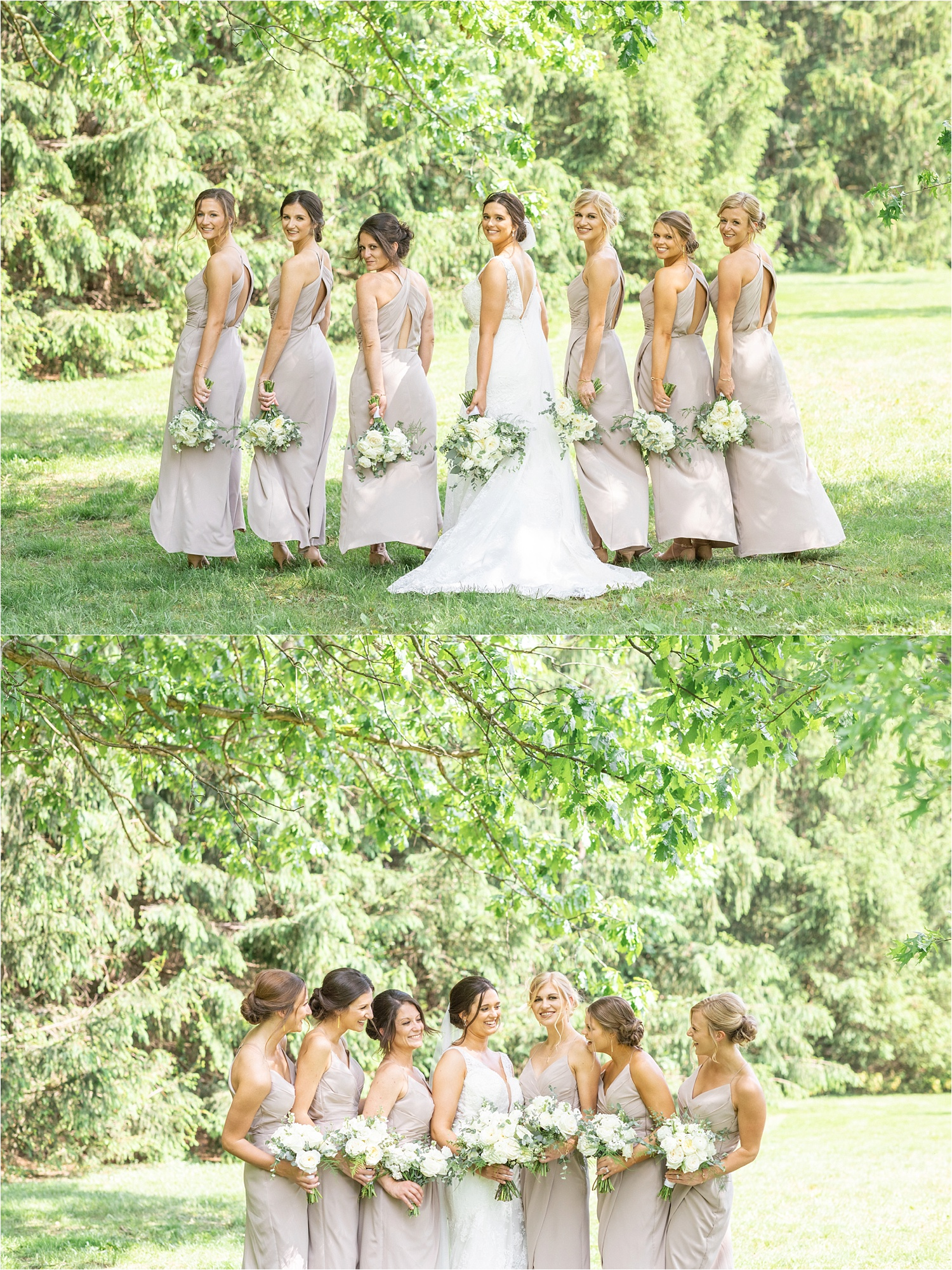 beautiful youngstown summer wedding photos of bridesmaids and bride at boardman park