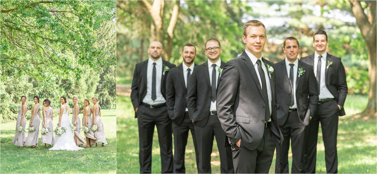 youngstown ohio wedding photos of groomsmen and groom at boardman park