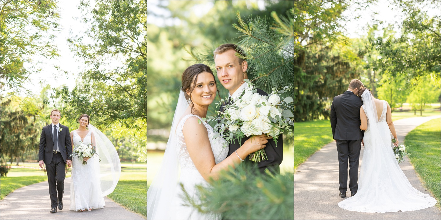 youngstown wedding photos of bride and groom at boardman park