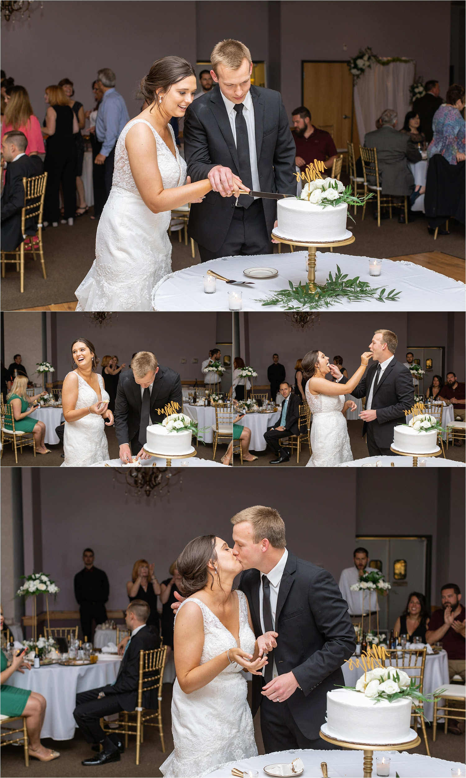 youngstown bride and groom cut cake at avion on the water